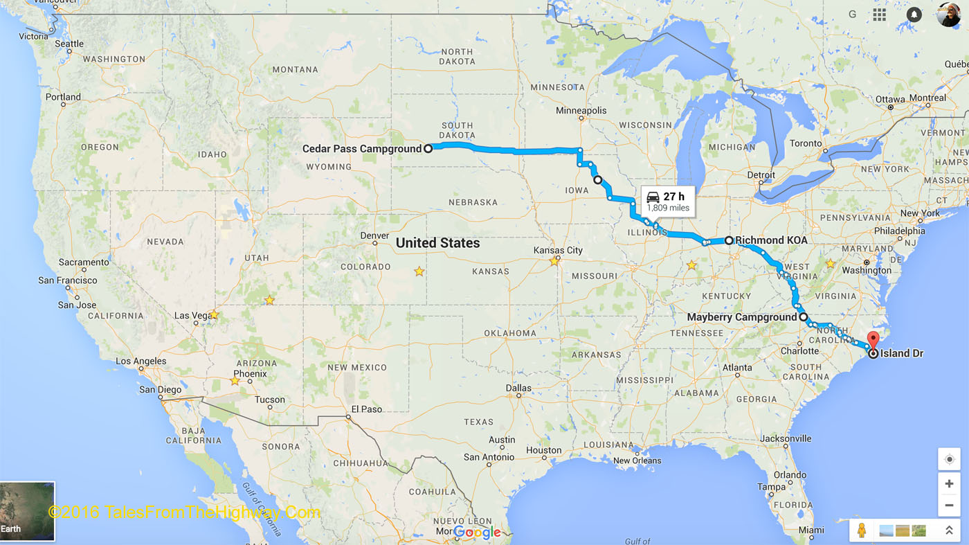 a map of our route from sd to nc about 1 800 miles for the last legs