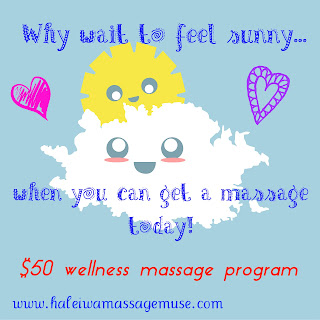 happy sun and happy cloud get massage on Hawaii's North Shore