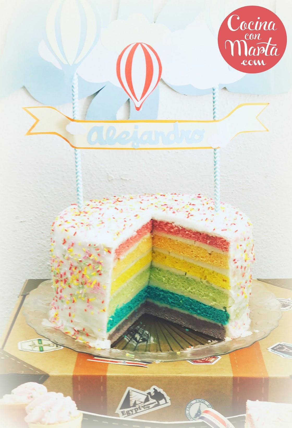 Tarta Arcoiris, receta pastel arcoiris, rainbow cake, tarta apta para aplv, apta para intolerantes lactosa, apta alergia leche, tarta cumpleaños, niños, celebraciones especiales, sin aceite de palma, Cocina con Marta