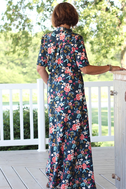 Style Maker Fabrics' Les Fleurs Birch Floral Rayon Navy sewn into a Simplicity 8084  maxi dress, designed by Mimi G - back view