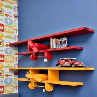 unique wooden air plane wall shelf idea