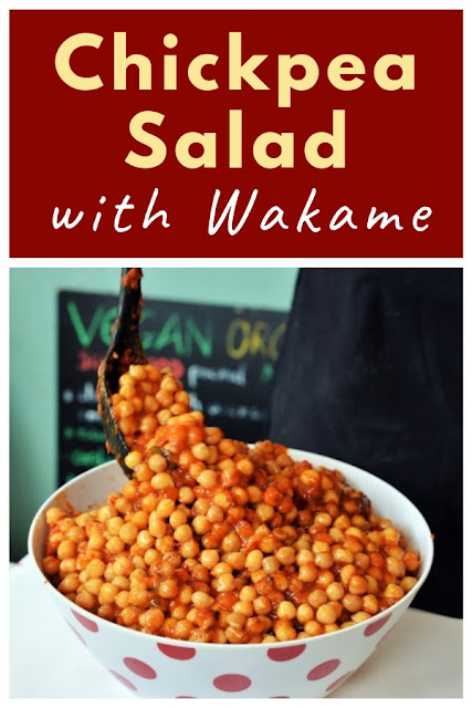 Chickpea Salad with Tomato Sauce and Wakame Seaweed. #chickpeasalad #chickpeas #wakame #wakameseaweed #seaweed #GreenwichMarket #GreenwichMarketCookbook #vegansalad