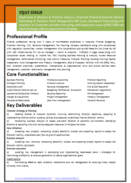 sample resume format chartered accountant best resumes curiculum