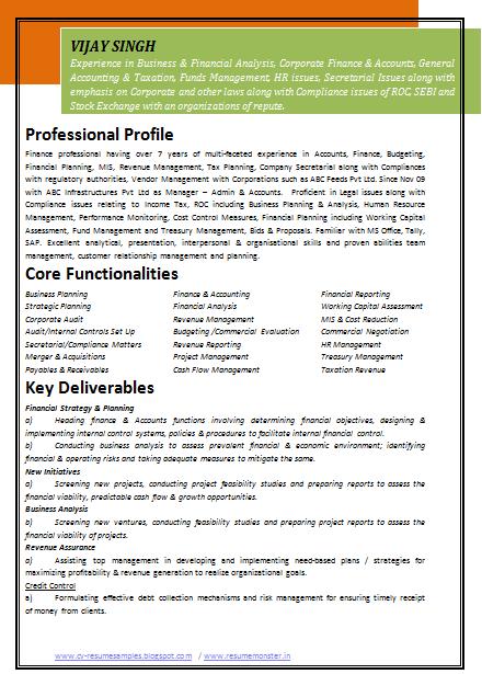 Sample Resume - Accounting - Monash University