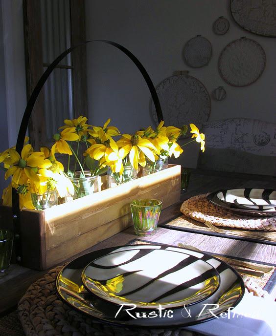 Quick centerpiece idea for a breakfast tablescape