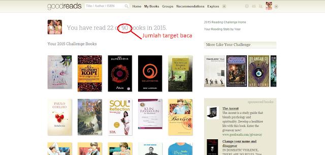 Jumlah target buku bacaan dalam satu tahun di GoodReads