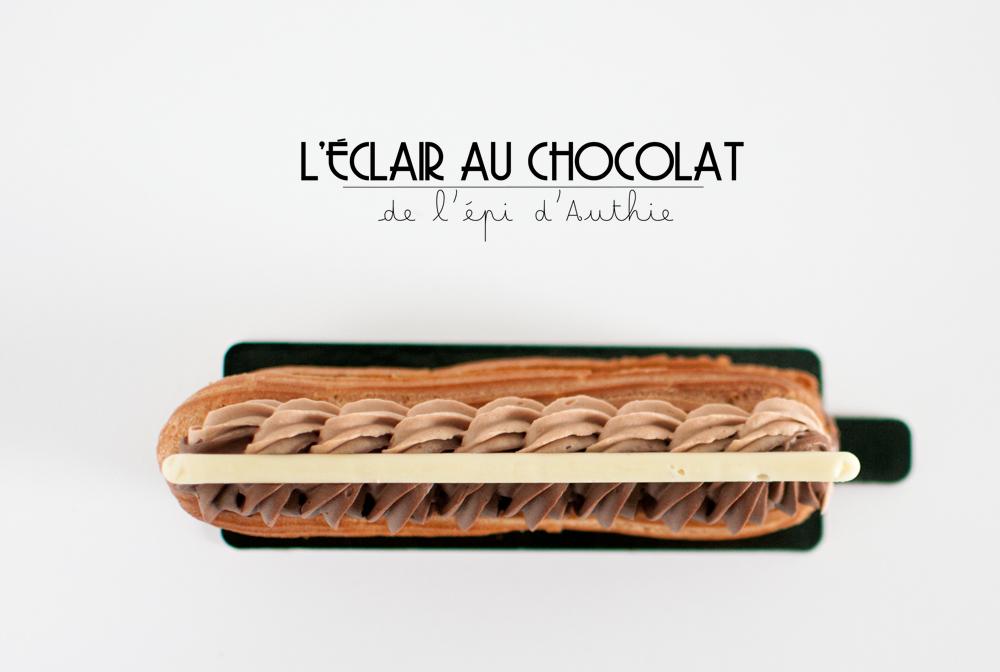 vu du dessus de l'éclair au chocolat de la boulangerie l'épi d'Authie