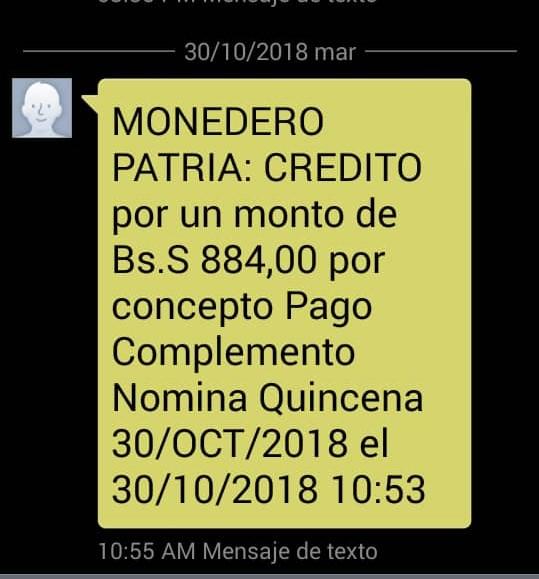 MONEDERO PATRIA: Deposito Pago Complemento Nomina Quincena 30/OCT/2018