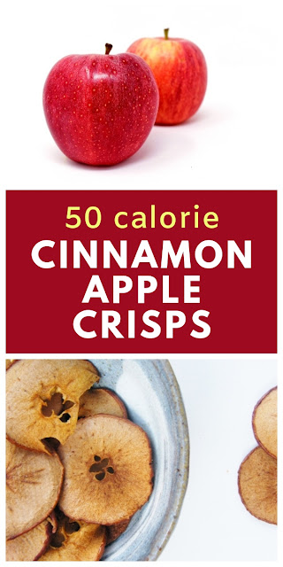 5:2 Diet - Cinnamon Apple Crisps = 50 calories. Homemade apple crisps. This recipe for baked apples is a healthy snack that's only 50 calories per portion. Great for when you are watching your weight. #52diet #applecrisps #applechips #lowcaloriecrisps #lowcaloriechips #lowcaloriesnack #apples #redapples #healthysnack