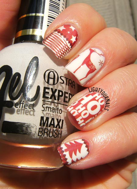 Christmas manicure with water decals