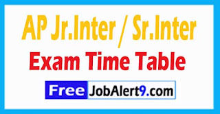 AP Jr.Inter / Sr.Inter 2018 Public Examination Time Table Download