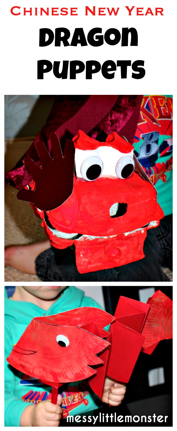 Chinese new year activity ideas for kids.  Dragon puppets.