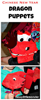 Chinese new year activity ideas for kids.  Make a simple dragon puppet.