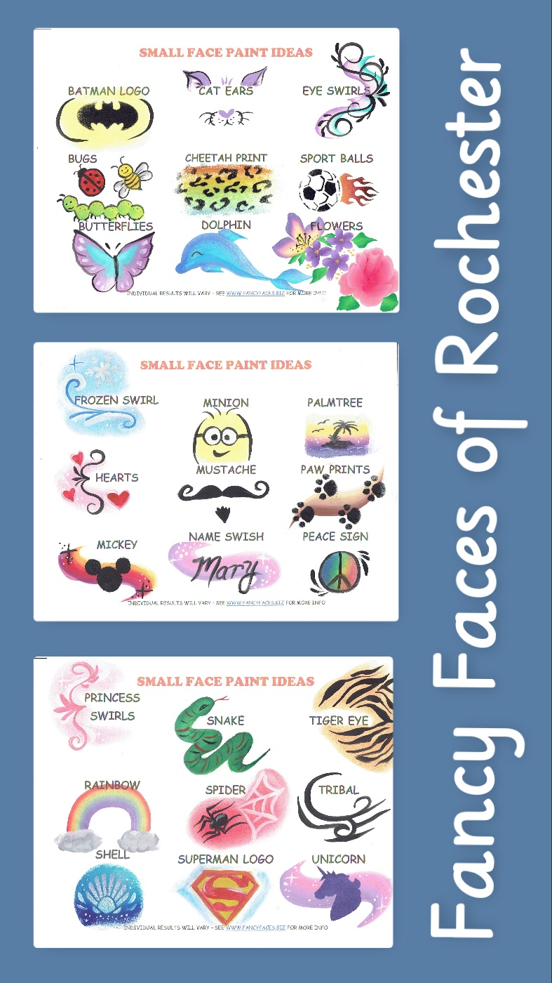 Selection of small face painting designs for cheek, eye, or arm