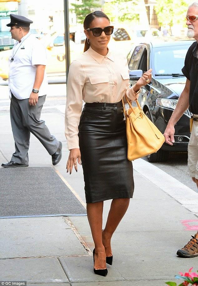 Ladies in Satin Blouses: Melanie Brown - tan blouse