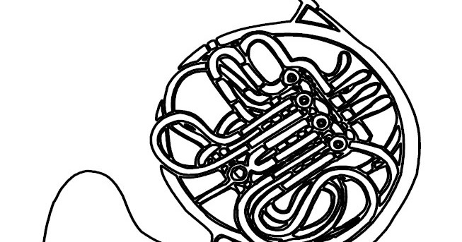 Coloring & Activity Pages: French Horn Coloring Page