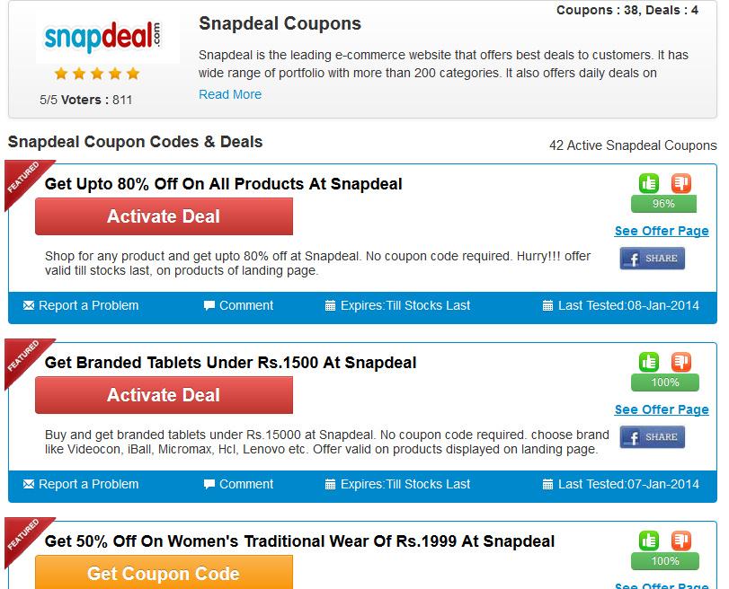 Snapdeal Discount Coupons Couponrani
