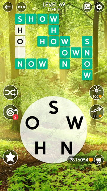 Wordscapes Level 69 answers, cheats, solution for android and ios devices.