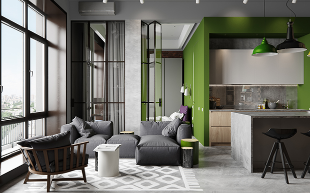 Plan deschis și accente de verde crud într-un loft din Moscova