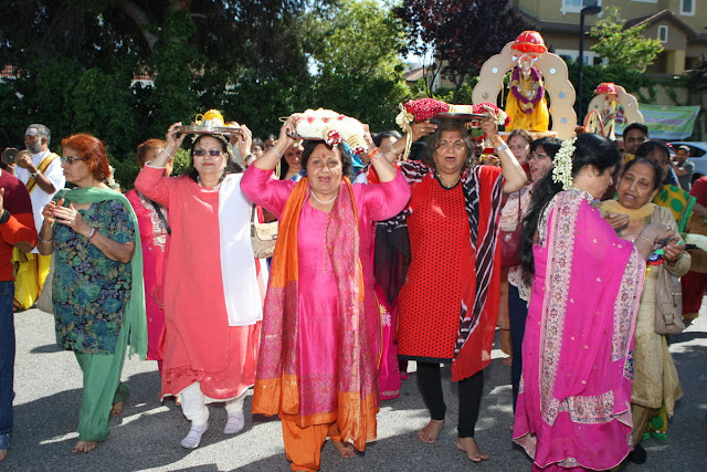 Some of the devotees of the Sunnyvale Hindu Temple participating in one of the numerous ceremonies to mark the temple's grand Silver Jubilee Celebrations.