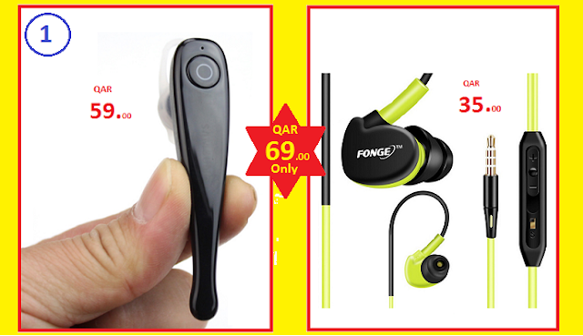Combo Offer: Stylish Stereo Wireless Bluetooth Headset + Wired Earphone Headset | QAR 69/- Only!