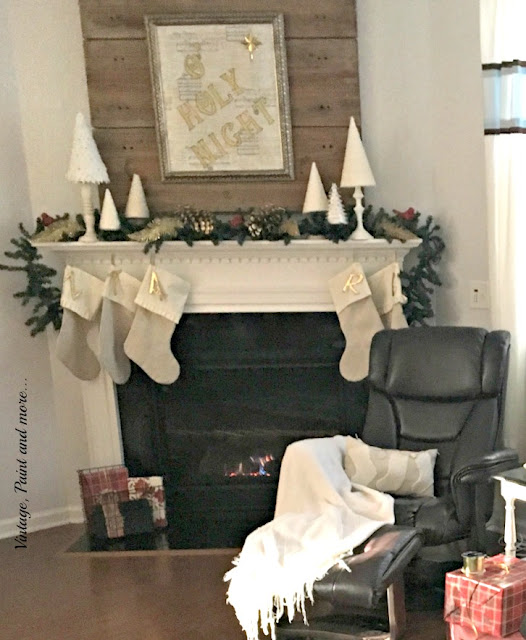 Christmas mantel with diy O Holy Sign, diy trees, drop cloth stockings