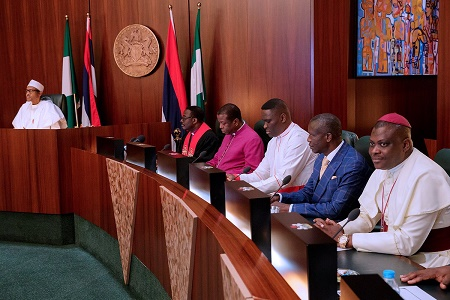 buhari meet CAN leaders aso rock