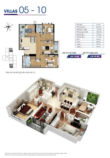 Mặt bằng căn hộ số 05 và căn hộ số 10 tòa Sapphire 2