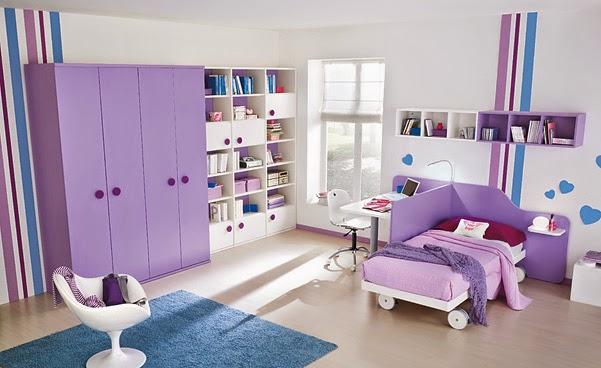 diseño dormitorio juvenil color morado