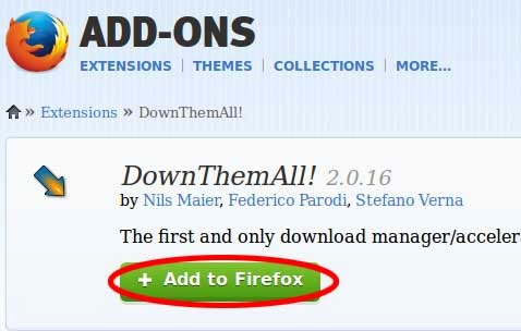 Downloading the Firefox Add-on DownThemAll