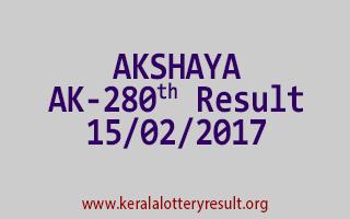 AKSHAYA AK 280 Lottery Results 15-02-2017