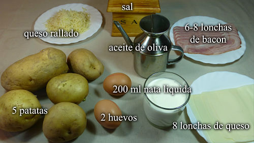 Pastel de patatas y bacon. Ingredientes