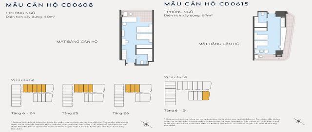 Thiết kế căn hộ 40m2 và 57m2 Eastin Phát Linh