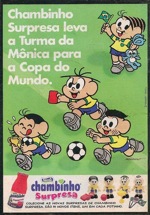 Propaganda do Chambinho promovendo os colecionáveis da Turma da Mônica em 1998