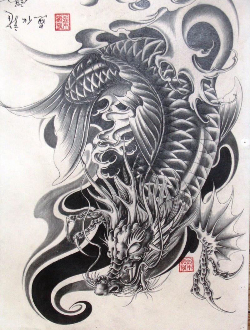 Hình Xăm Cá Chép Hóa Rồng Nghệ Thuật Đẹp & Ấn Tượng, May Mắn