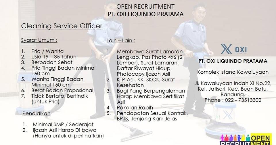 Lowongan Kerja Cleaning Service Officer Pt Oxi Liquindo border=