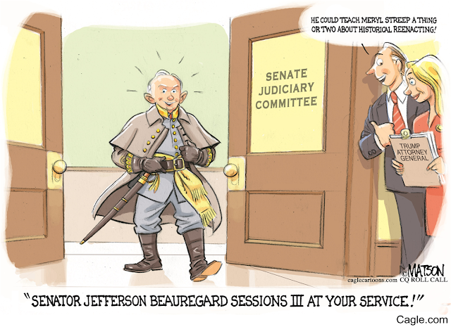 Jeff Sessions in full Confederate uniform enters hearing room as bystand says,