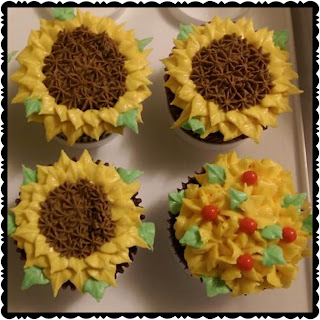 Sunflower buttercream cupcakes
