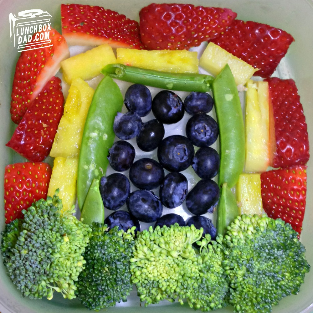 Rainbow with fruit and vegetables