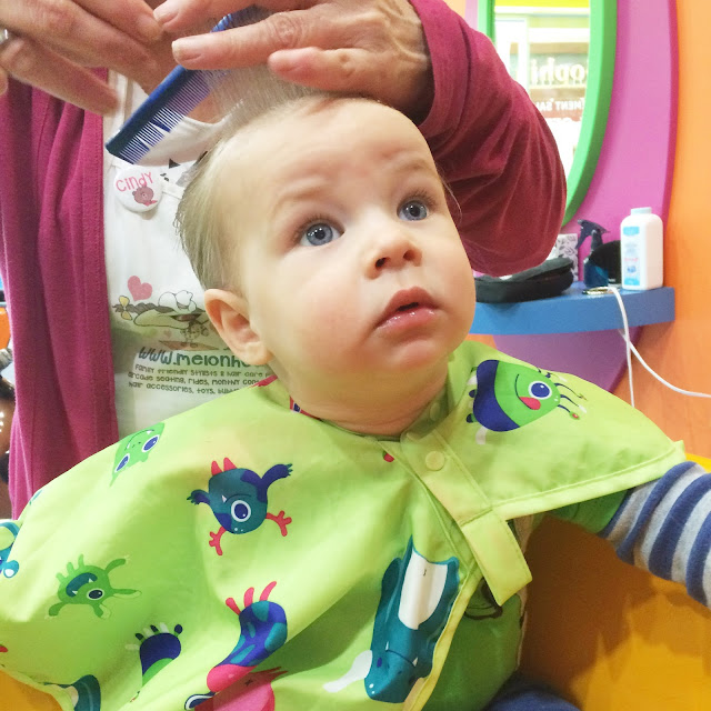 baby boy's first haircut