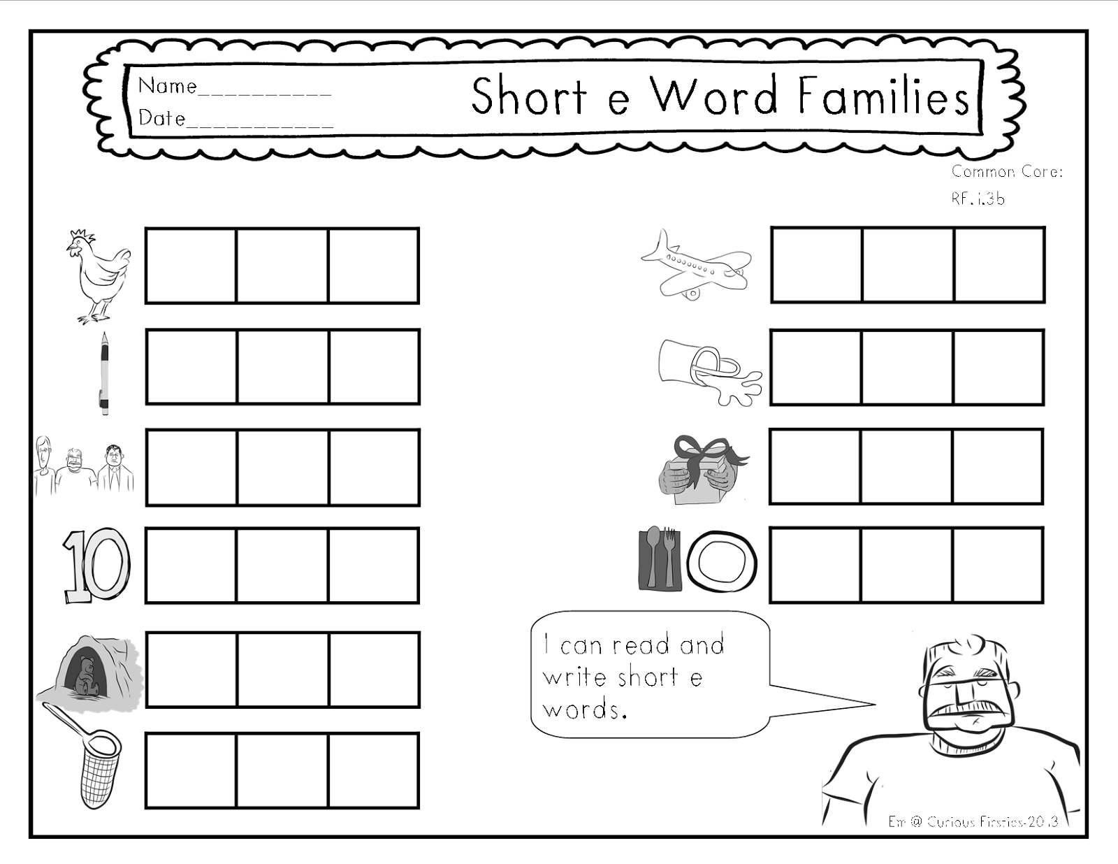 Printables Short E Worksheets For First Grade curious firsties adding more to my phonics instruction i thought these sheets could be used in two different ways before we flip through the slides of particular word boxes on this shee