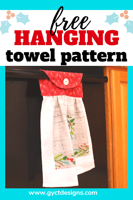 Sew up a simple hanging dish towel to keep those towels from ending up on the floor.  Plus, you can download the free PDF pattern to make loads of hanging towels for holiday gifts.
