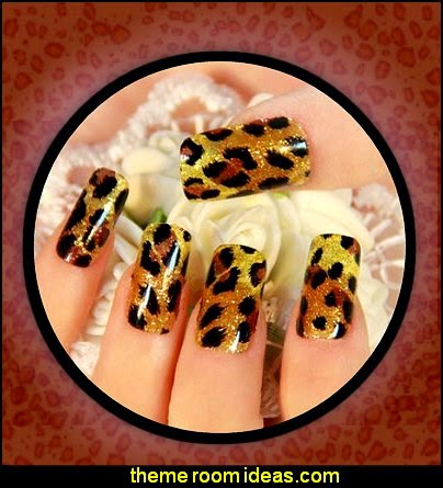 leopard Nail Stickers - leopard nail decals - leopard nail design