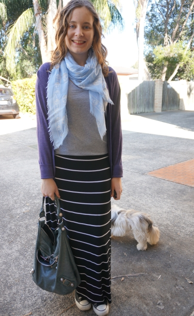 Striped maxi skirt in winter with grey tee purple and blue layers for warmth