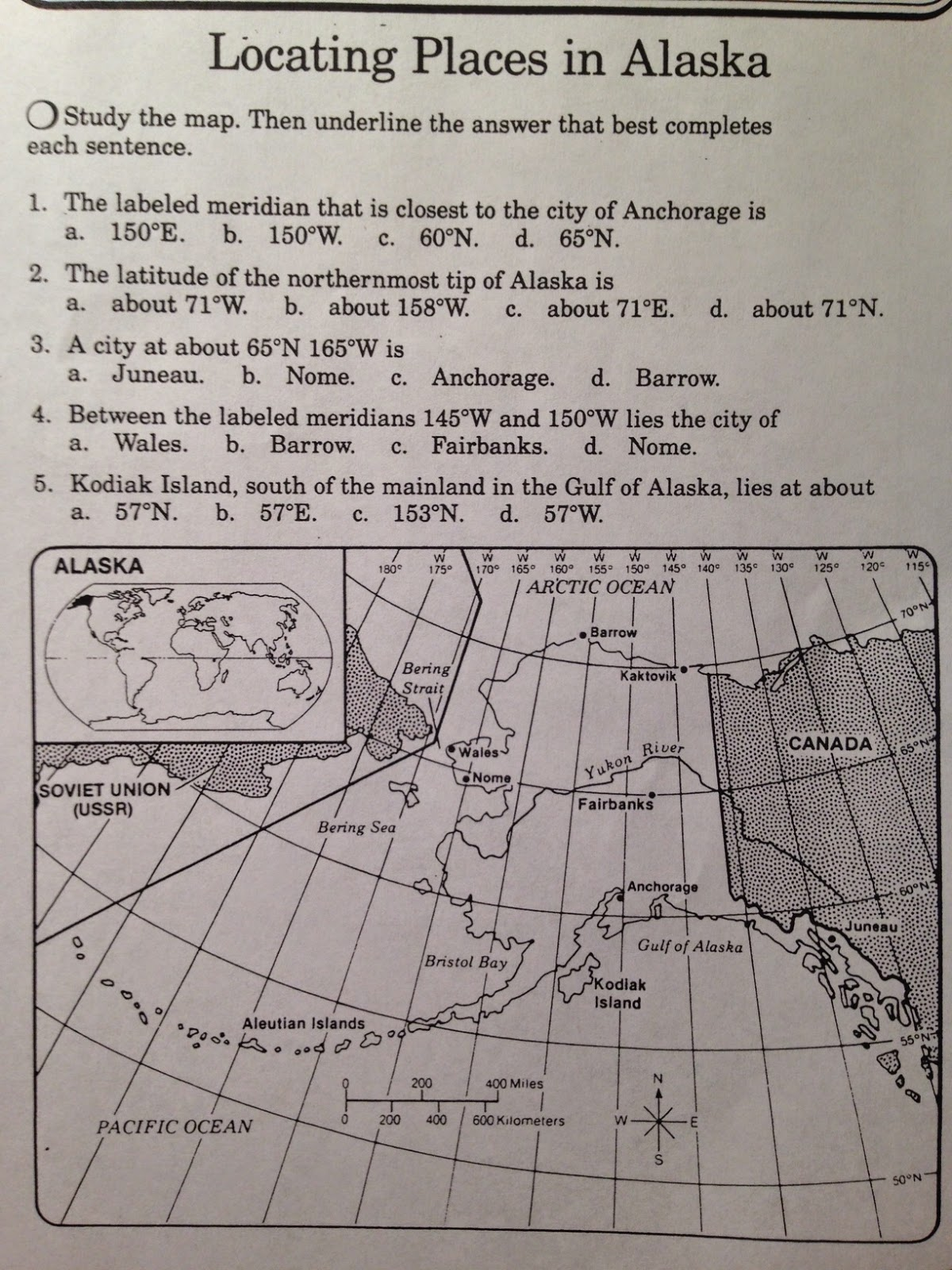 World Longitude And Latitude Printable Worksheet