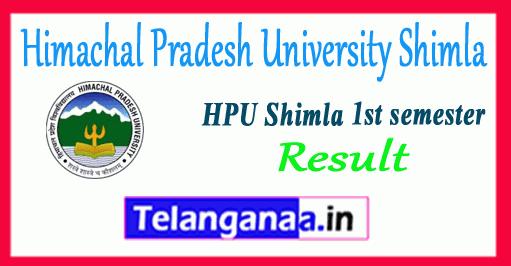 HPU Himachal Pradesh University Shimla 1st Semester BA B.Sc B.Com Result