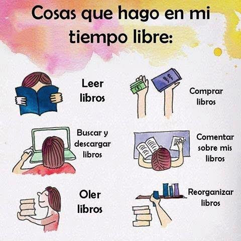 Meme sobre los libros y el tiempo libre