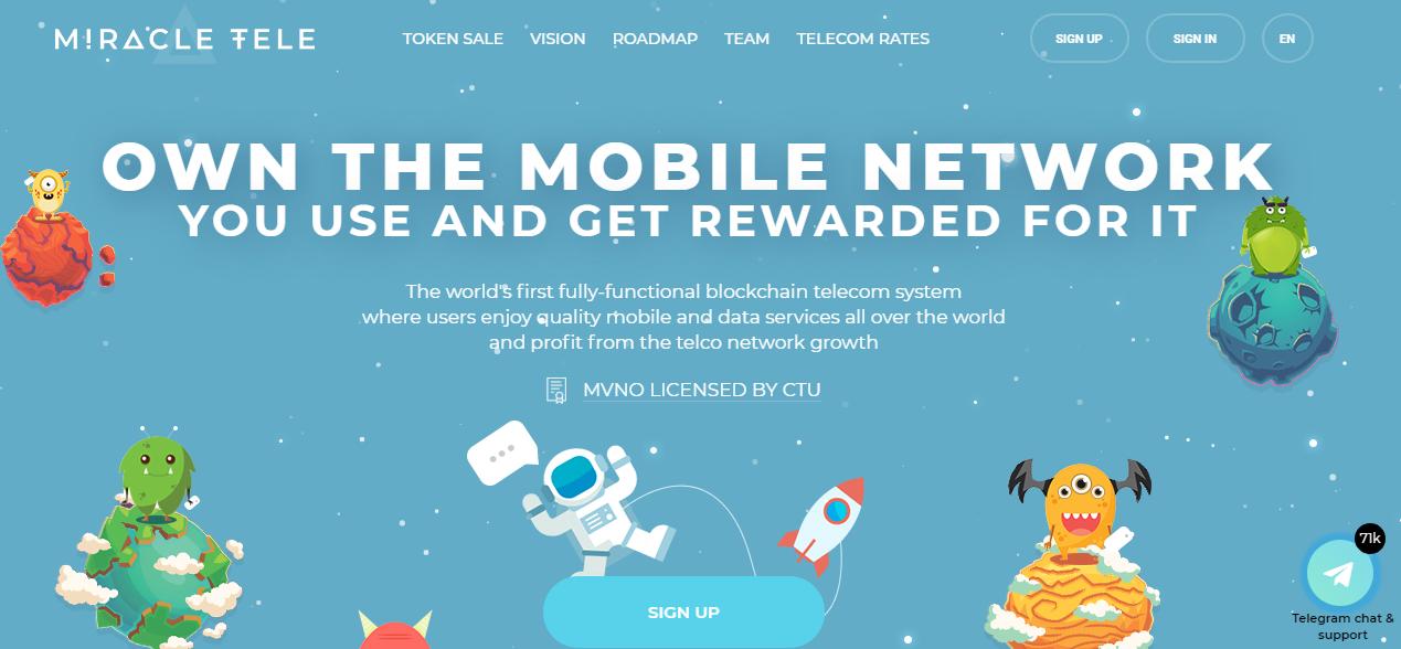 Miracle TELE Token ICO: Blockchain Mobile Telecom Coin - altcoin99