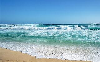 Wallpaper met blauwe zee