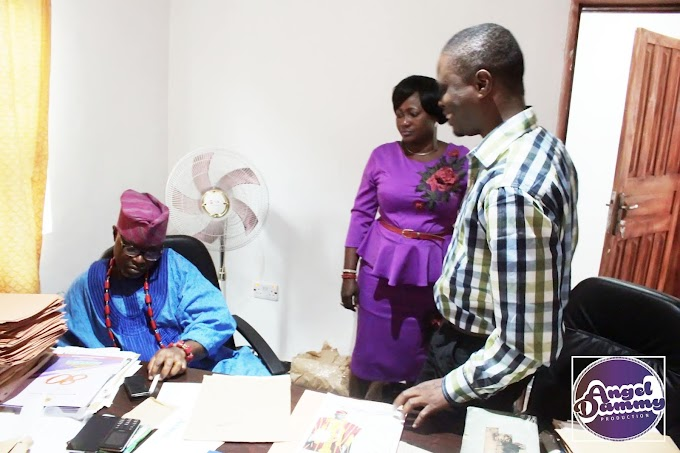Angel Dammy on a courtesy visit with Oluomo of Ota Chief Ola Bello and HRM Oba Odunaro